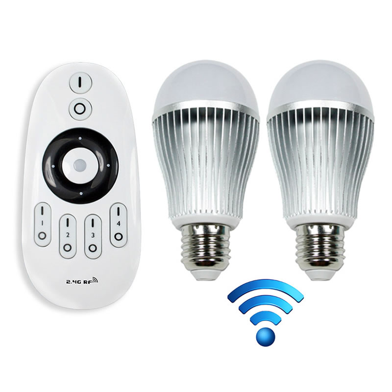 Kit mando 2 bombillas e27 blanco dual 9w 2 4g wifi for Lampadine led lexman